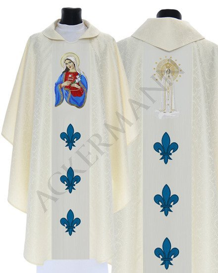 Cream Gothic Chasuble Heart of Mary Our Lady of Fatima model 427