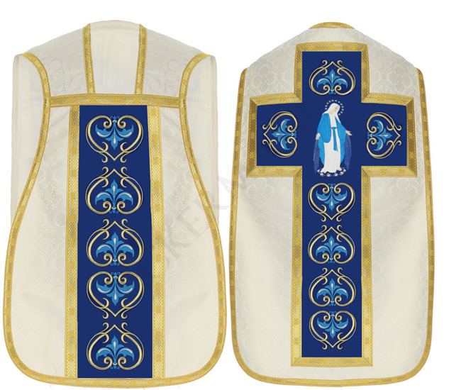 Cream Marian Roman Chasuble Our Lady of Grace