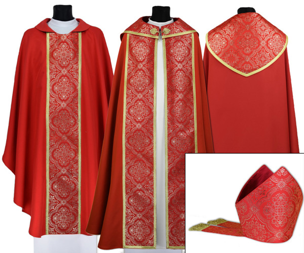Red Gothic Cope with mitre & chasuble