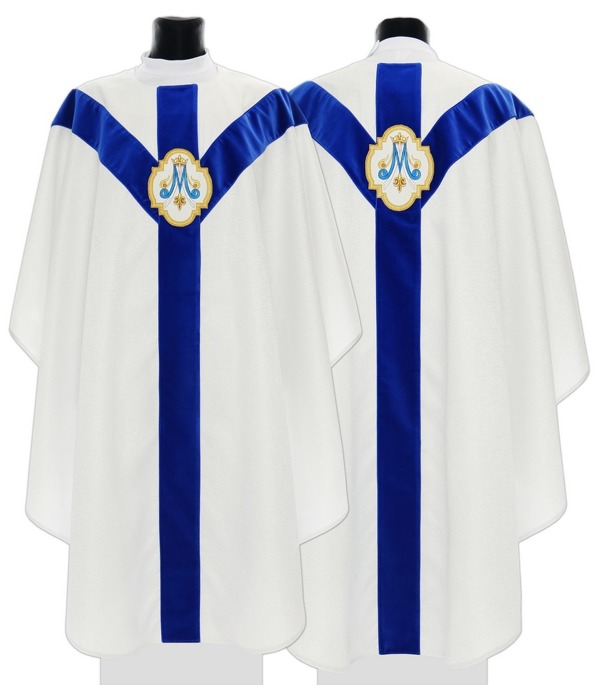 Silver Marian Semi Gothic Chasuble model 205